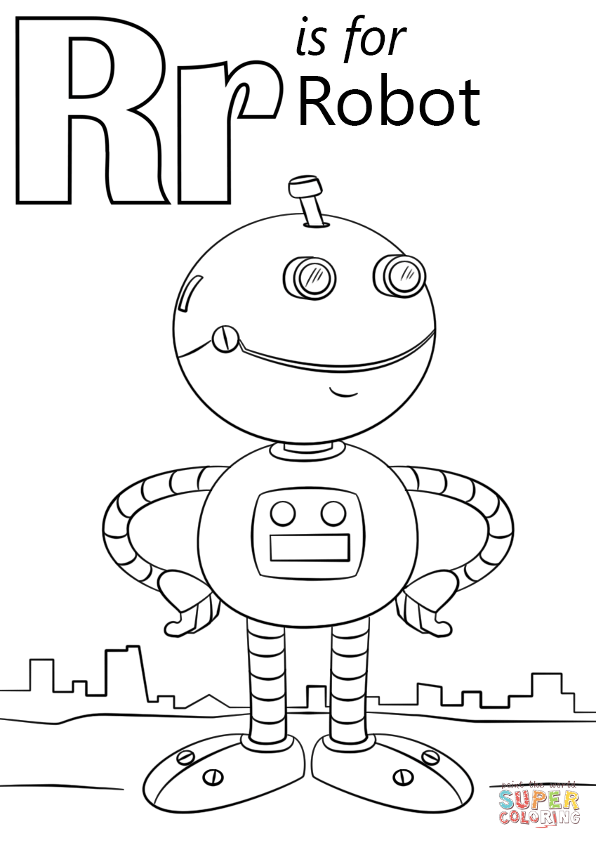 alphabet coloring pages r letter r is for robot coloring page from letter r category alphabet coloring r pages