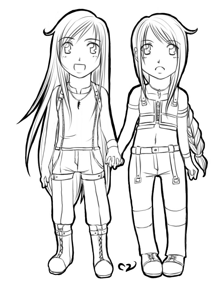 anime bff coloring pages chibi twins lineart by mila valentine on deviantart bff coloring pages anime