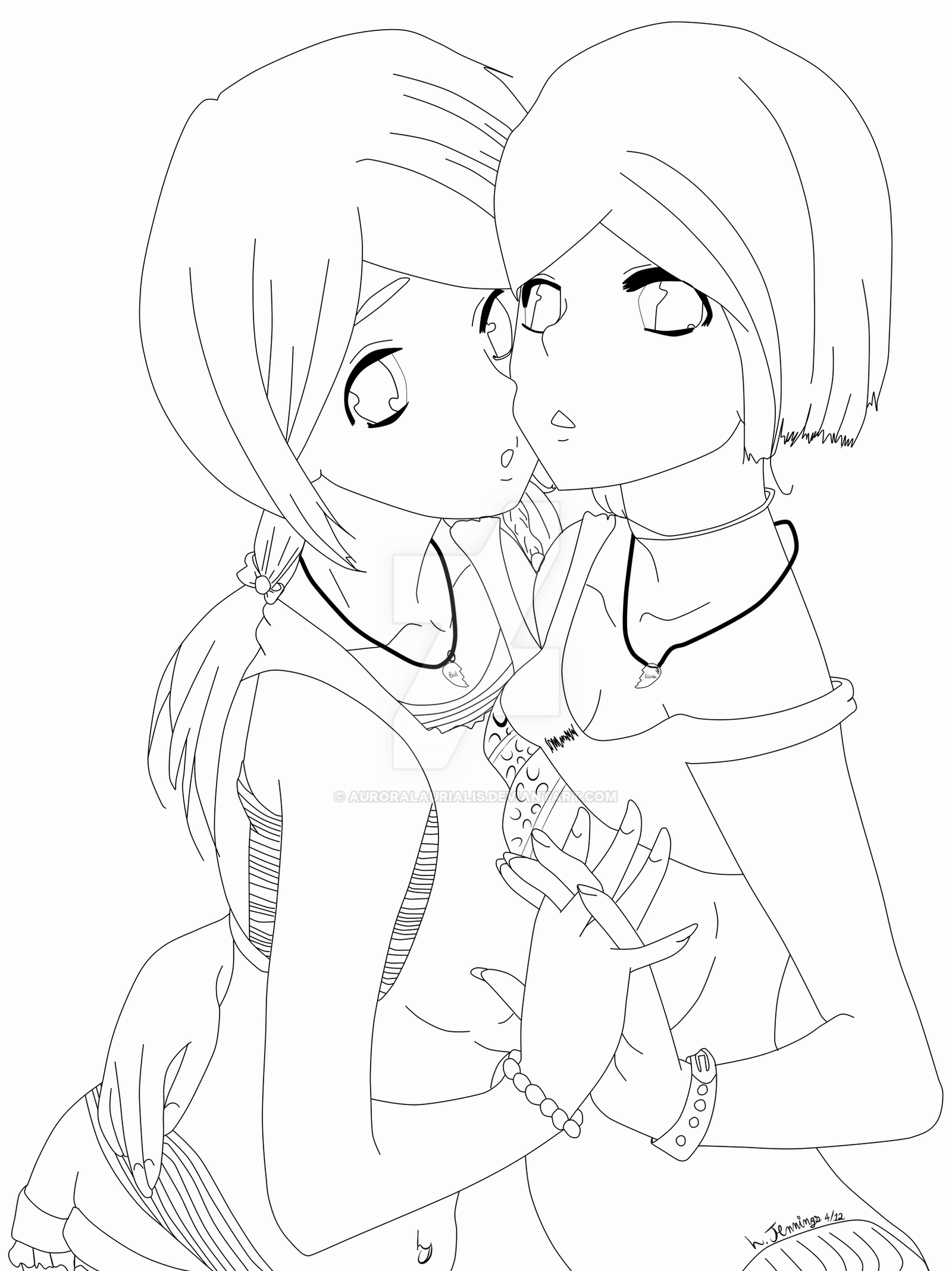 anime bff coloring pages nelle and laura bff lineart by auroralaurialis on deviantart coloring bff anime pages