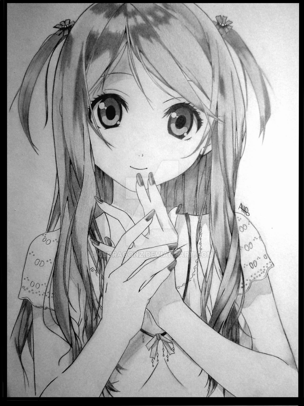 anime girls drawing of a cute girl by 69dragonz on deviantart girls anime