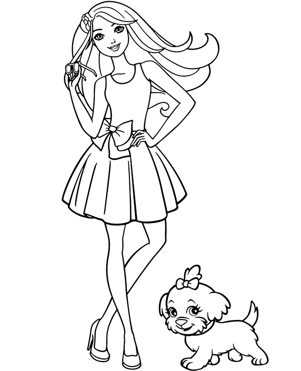Barbie and dog coloring pages