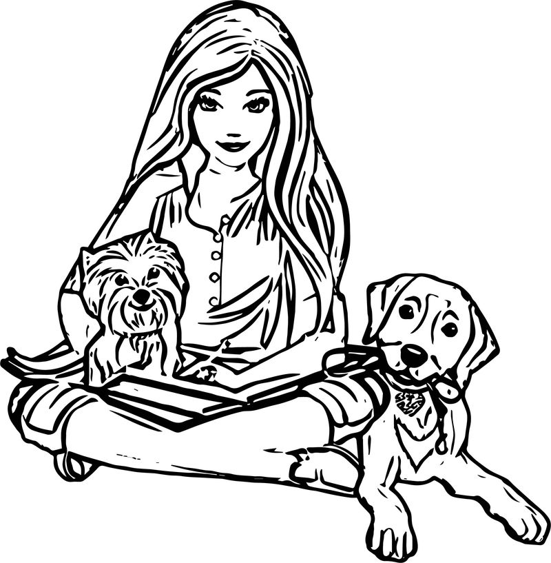 barbie and dog coloring pages barbie dog coloring pages at getcoloringscom free barbie coloring dog and pages