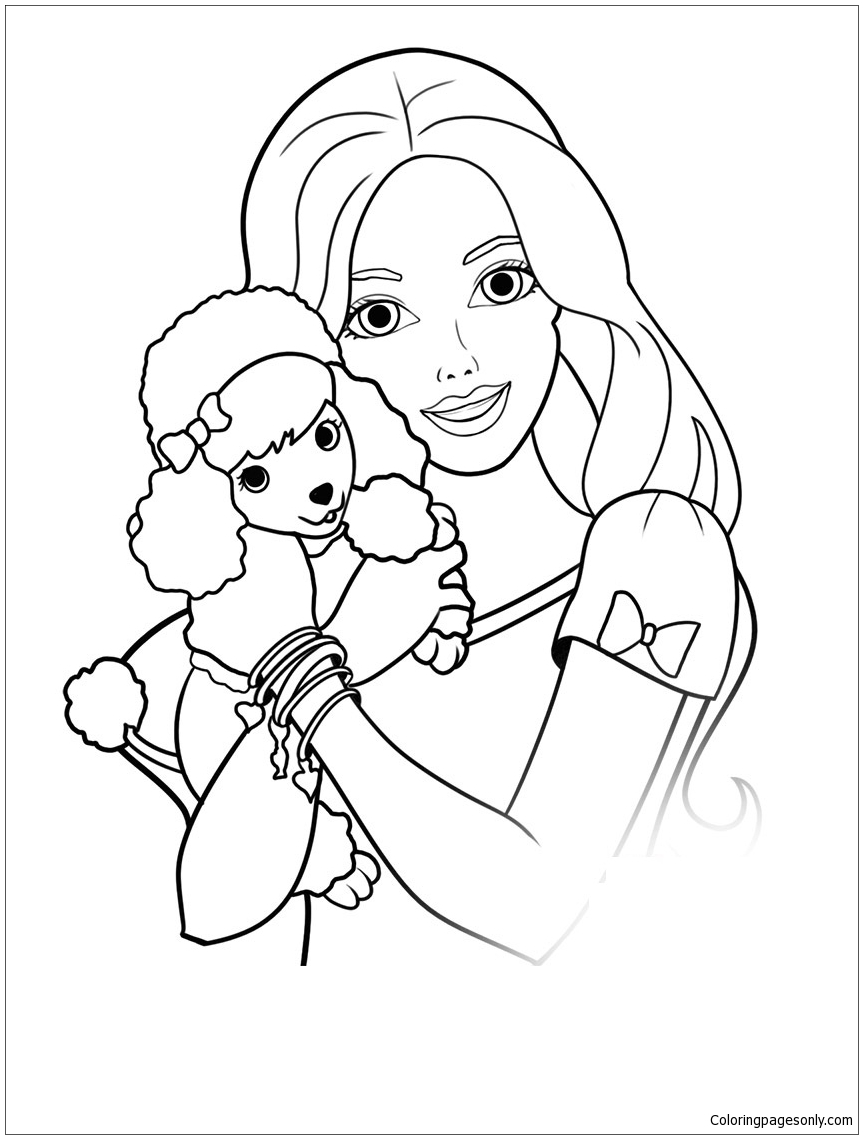 barbie and dog coloring pages high quality barbie and her puppy to print for free and dog barbie pages coloring