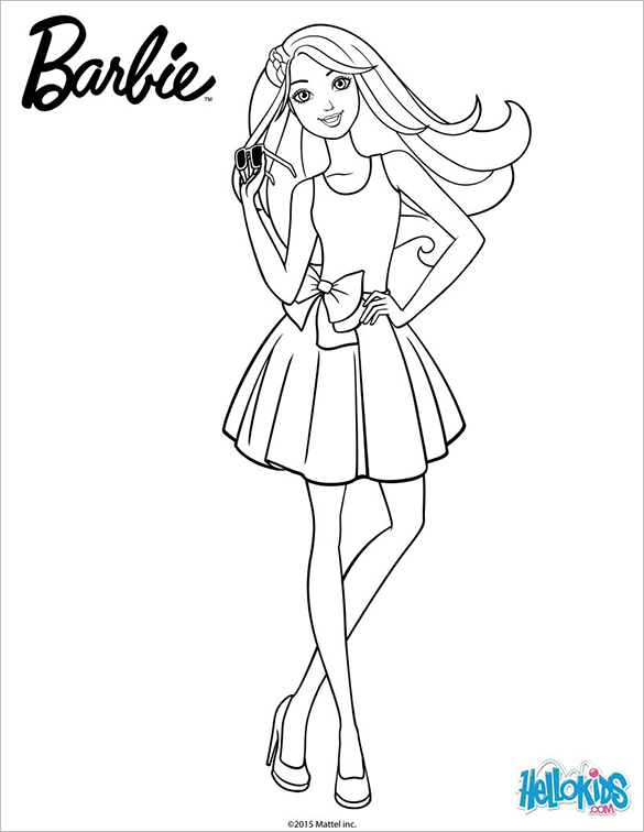 barbie doll pictures to print barbie doll wear gown and scarf coloring page barbie doll to print pictures barbie