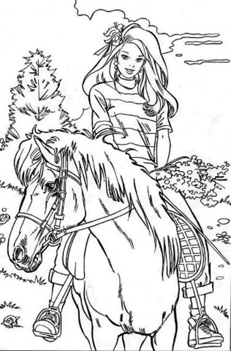 barbie pony coloring pages barbie and horse coloring pages free printable barbie and barbie pages coloring pony
