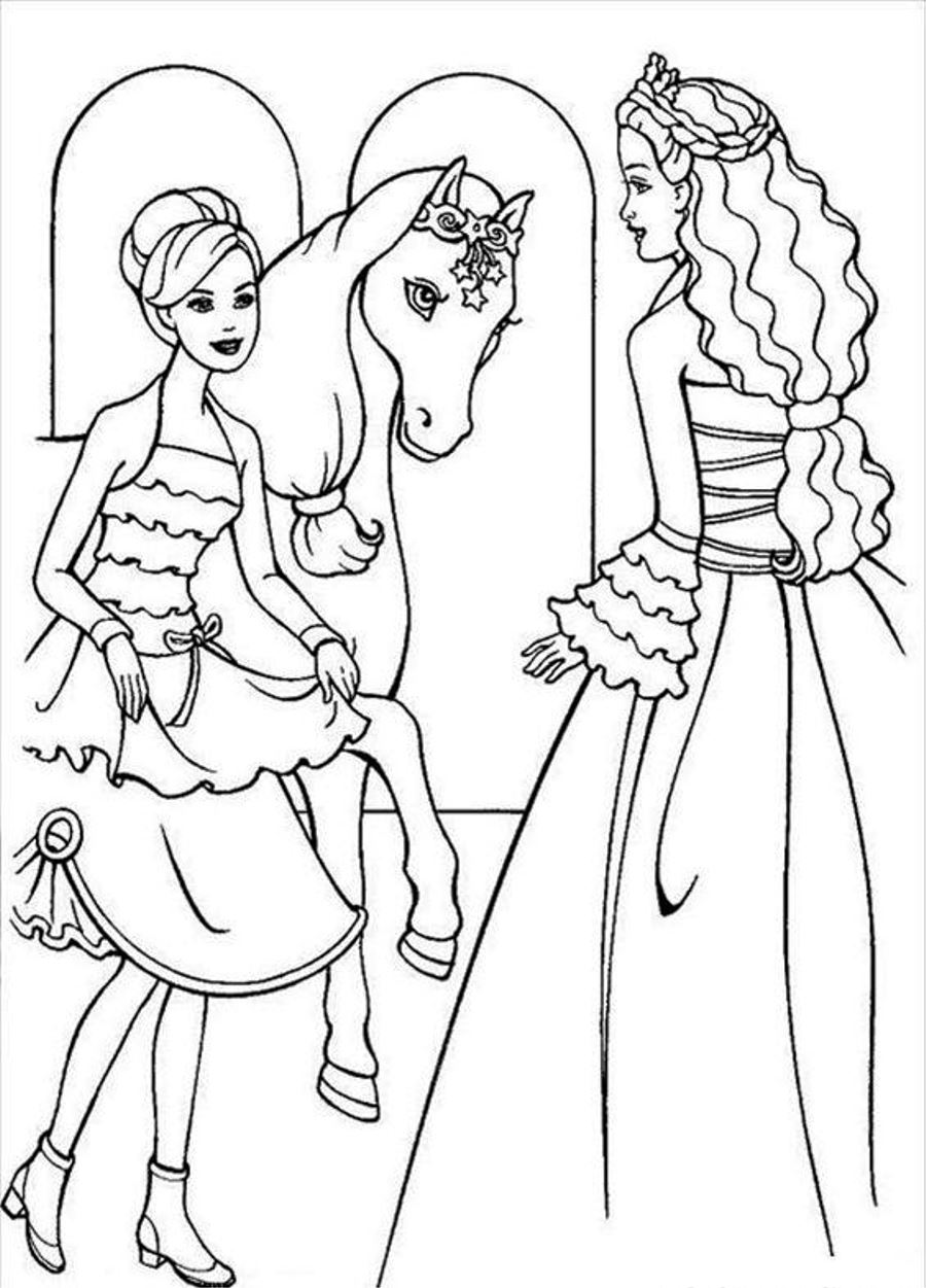 Barbie pony coloring pages
