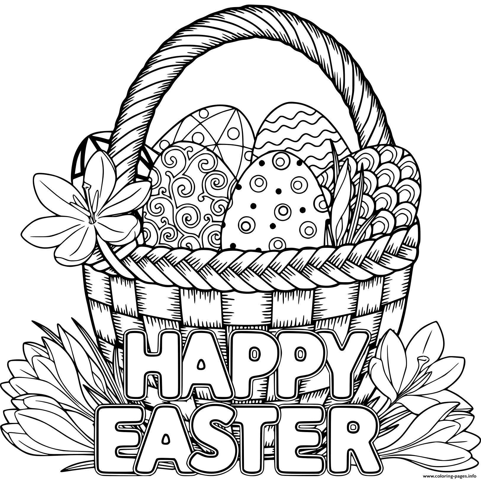 basket of easter eggs coloring page free printable easter egg coloring pages for kids of basket coloring eggs page easter