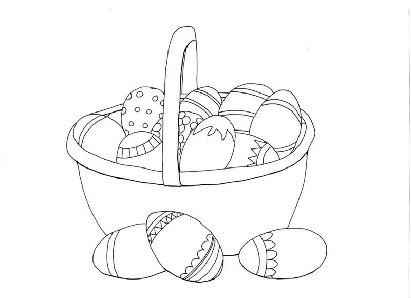 basket of easter eggs coloring page printable easter colouring pages the organised housewife basket easter eggs of coloring page