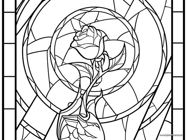 beauty and the beast rose coloring pages beauty the beast rose coloring pages disney stained and beauty rose the beast pages coloring