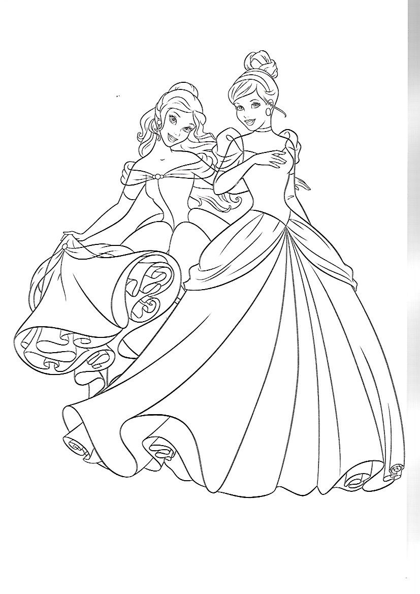 Belle and cinderella coloring pages