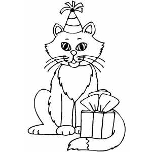 birthday cat coloring pages a cat going to attend birthday party with the gift birthday cat coloring pages