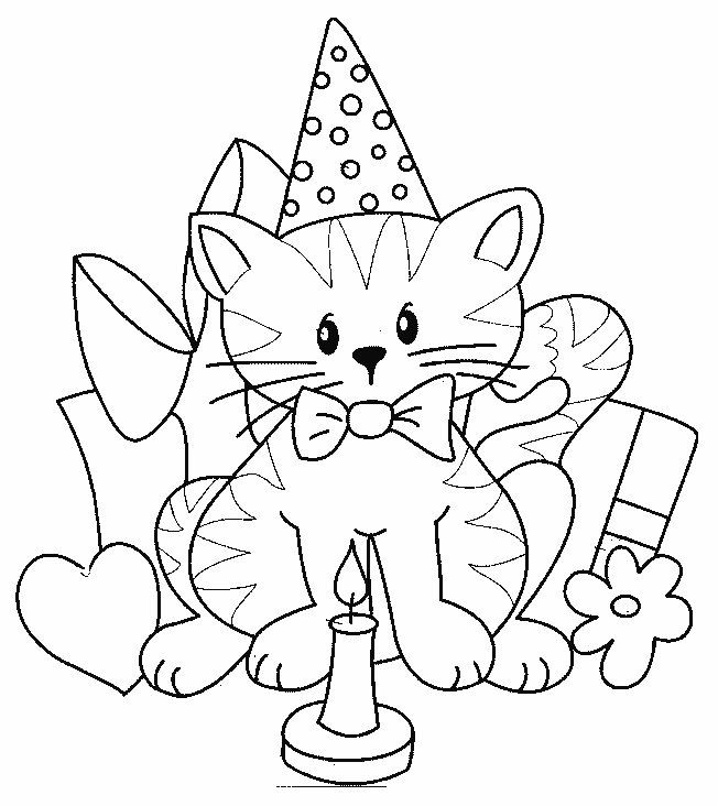birthday cat coloring pages birthday card drawing at getdrawings free download coloring pages cat birthday