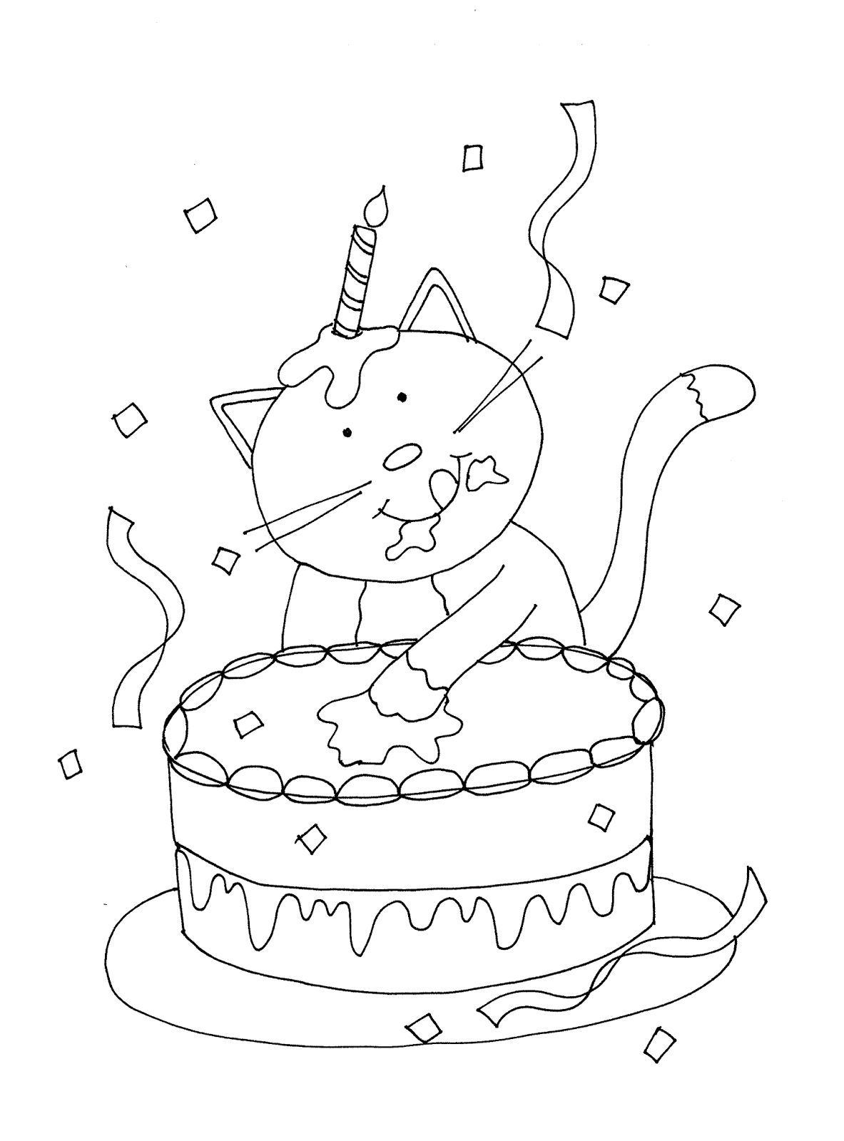 birthday cat coloring pages happy birthday kitty digi stamps happy birthday cat pages birthday cat coloring