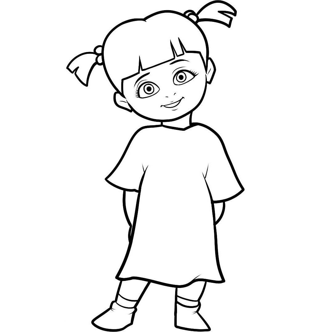 boo monsters inc coloring pages boo in her monster costume in monsters inc coloring page coloring inc boo pages monsters