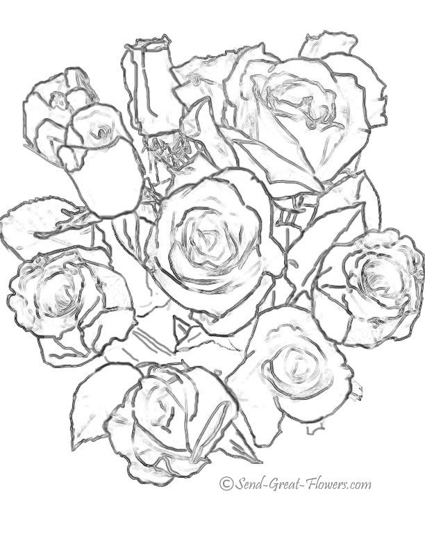 bouquet of roses coloring pages bouquet of flowers coloring kerra bouquet pages coloring roses of