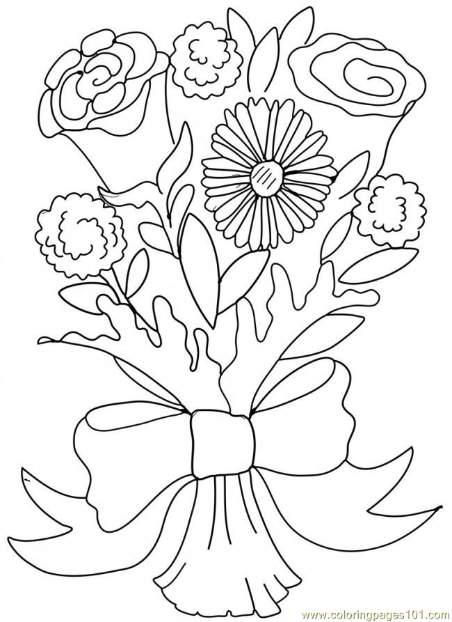 bouquet of roses coloring pages bouquet of flowers coloring pages for childrens printable bouquet pages coloring roses of
