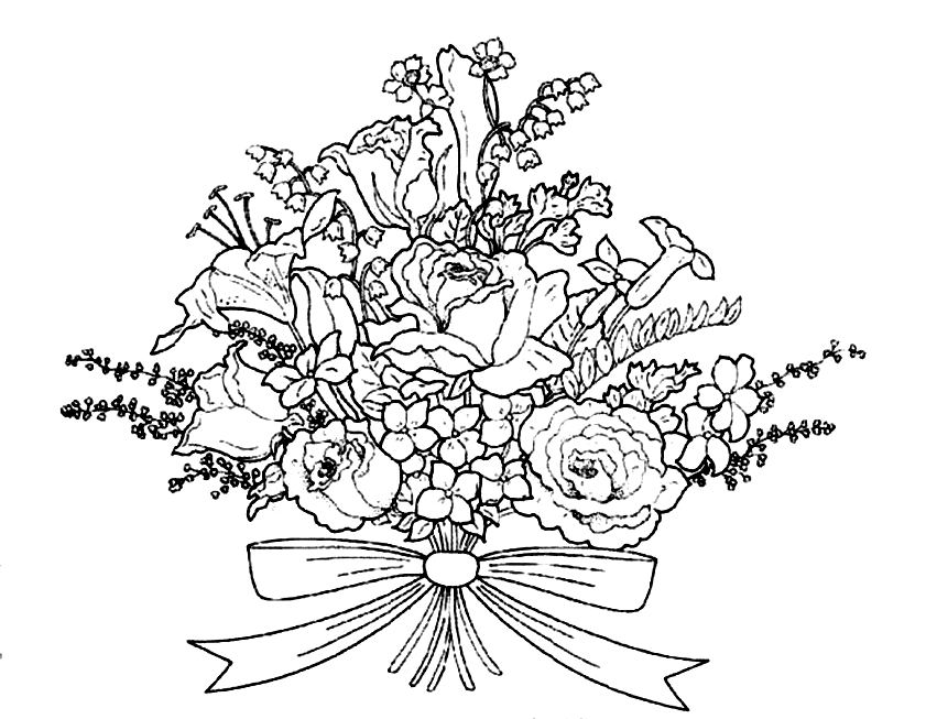 bouquet of roses coloring pages bouquet of flowers coloring pages for childrens printable coloring roses pages bouquet of