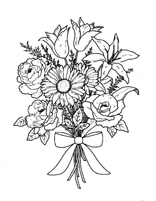 bouquet of roses coloring pages bouquet of flowers coloring pages for childrens printable of coloring bouquet pages roses