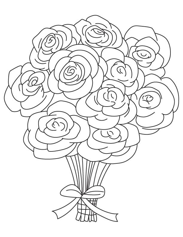 Bouquet of roses coloring pages