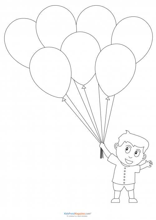 boy coloring template preschool coloring pages boy with balloons coloring boy template