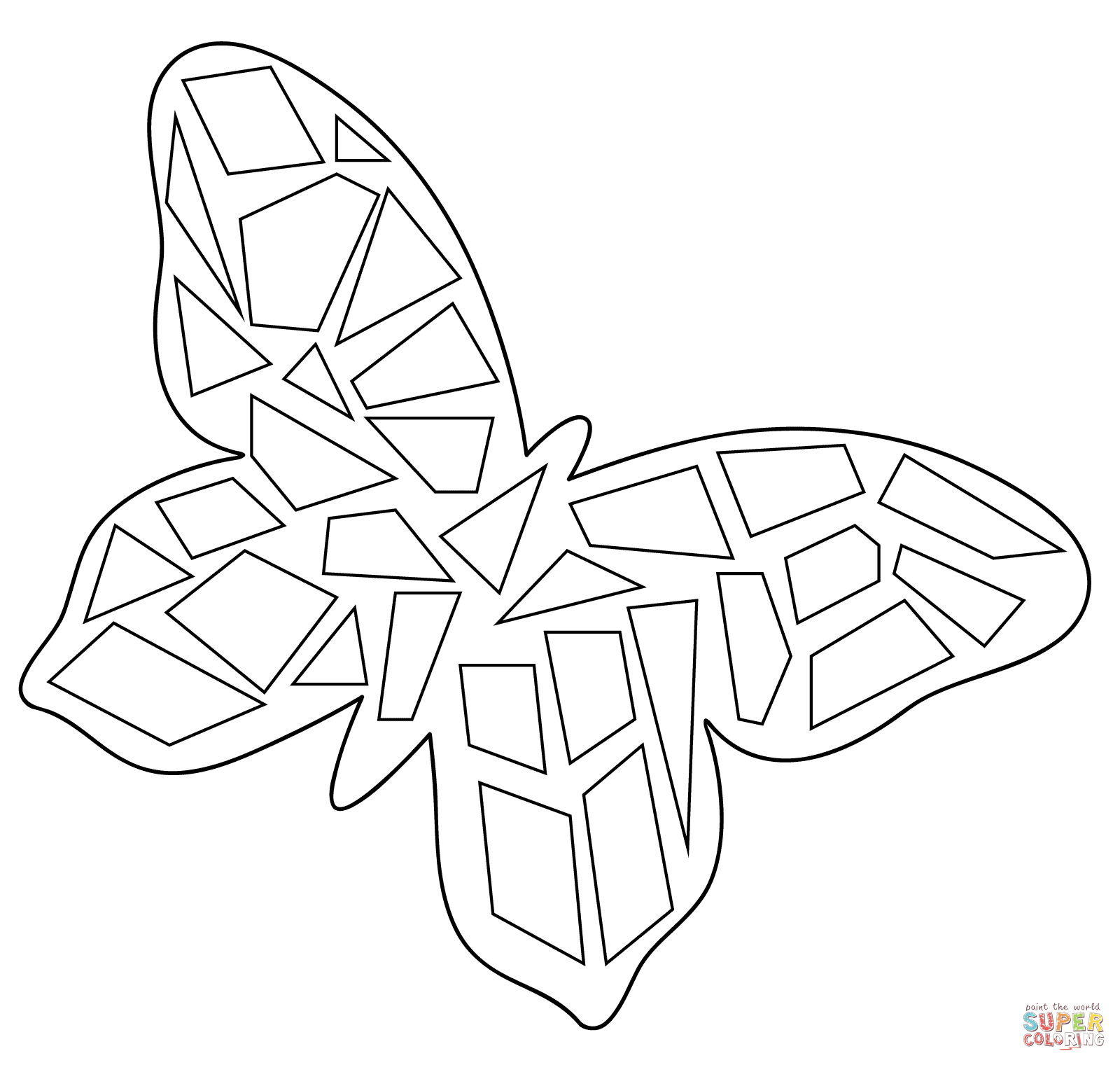 Butterfly mosaic coloring page