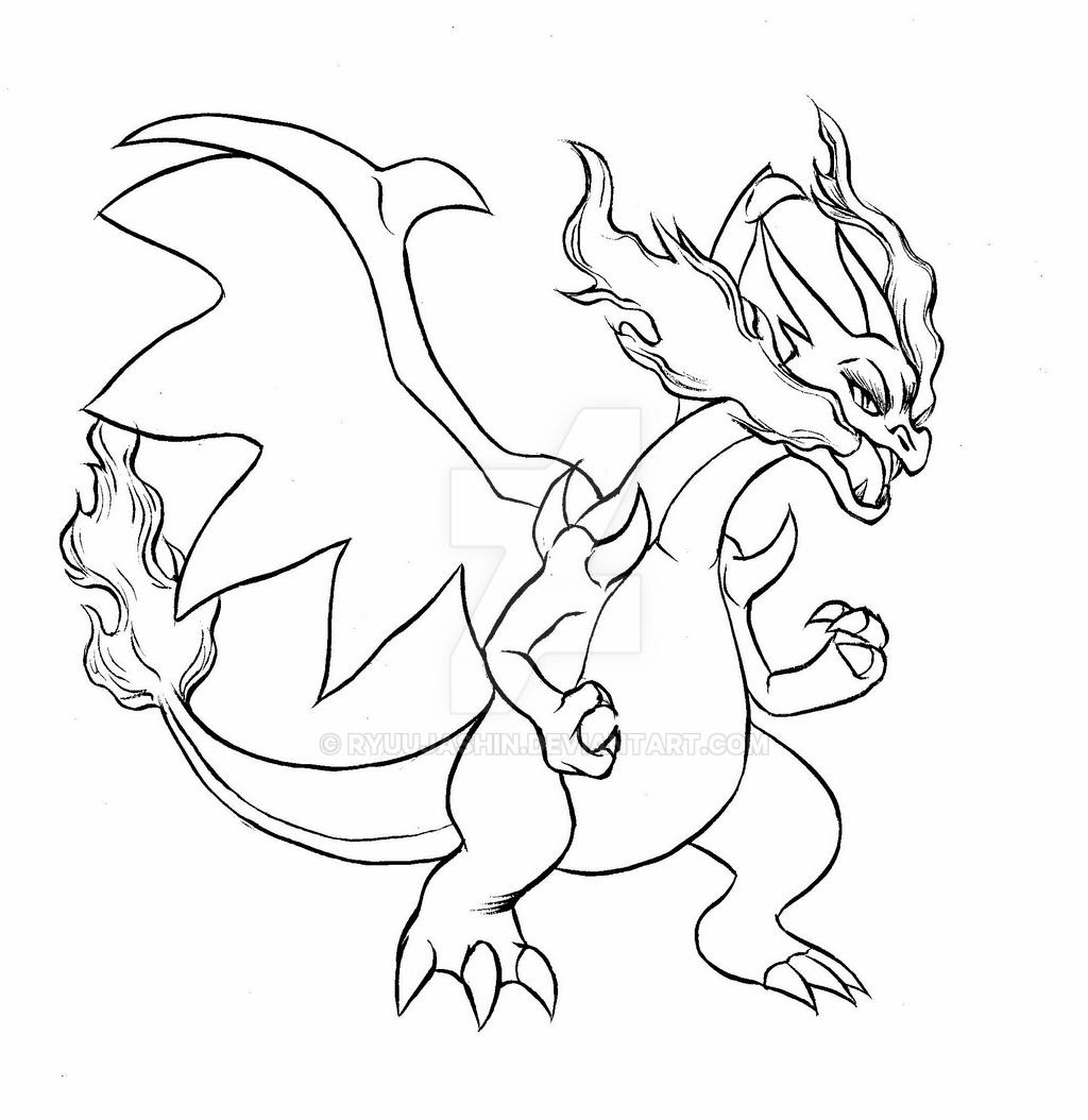 charizard y coloring page mega charizard x brush outline by ryuujashin on deviantart charizard y page coloring