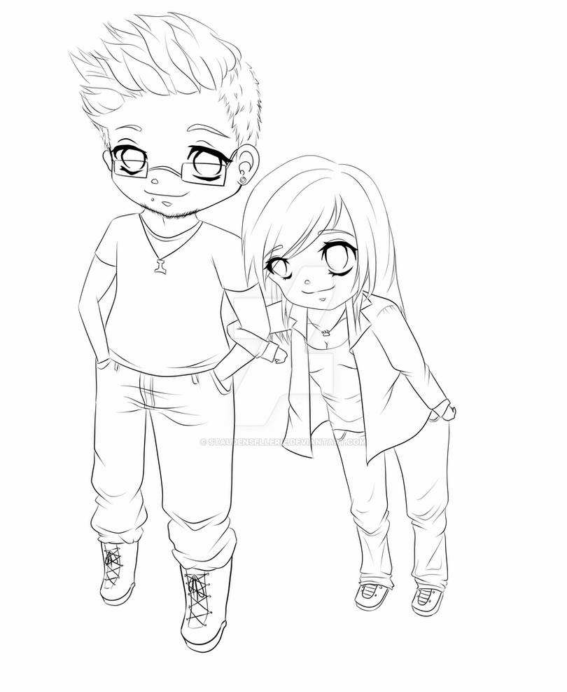 chibi couple coloring pages chibi couple commission sketch by yampuff on deviantart chibi couple coloring pages