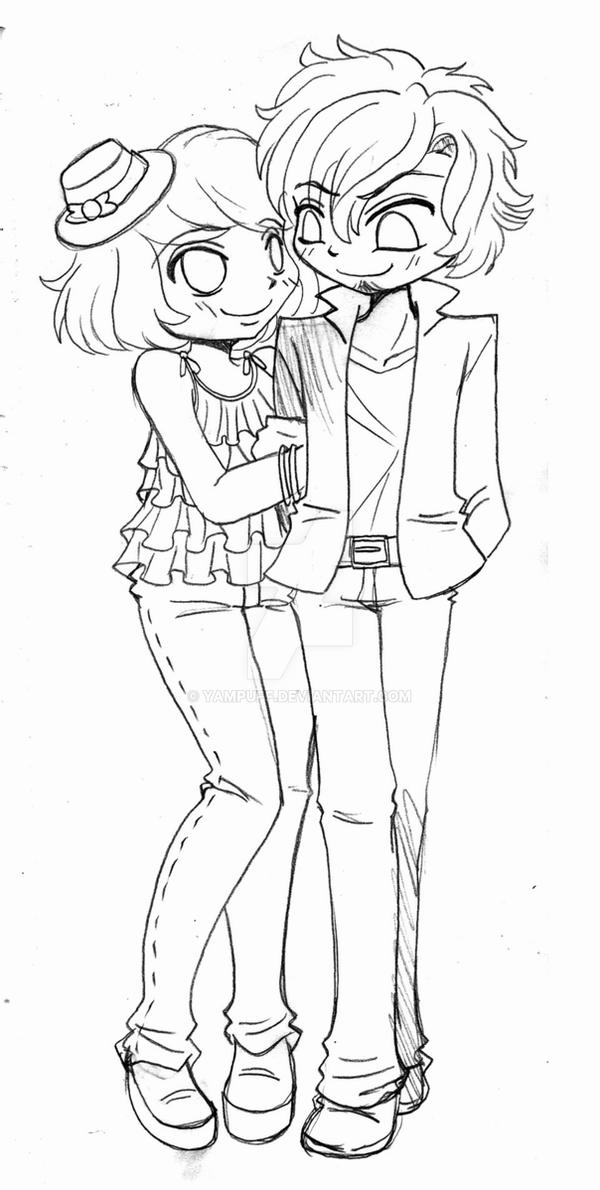 chibi couple coloring pages chibi couple commission sketch by yampuff on deviantart coloring pages chibi couple