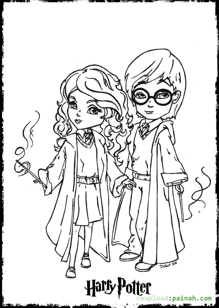 chibi harry potter coloring pages harry potter cartoon drawing at getdrawings free download chibi coloring potter harry pages
