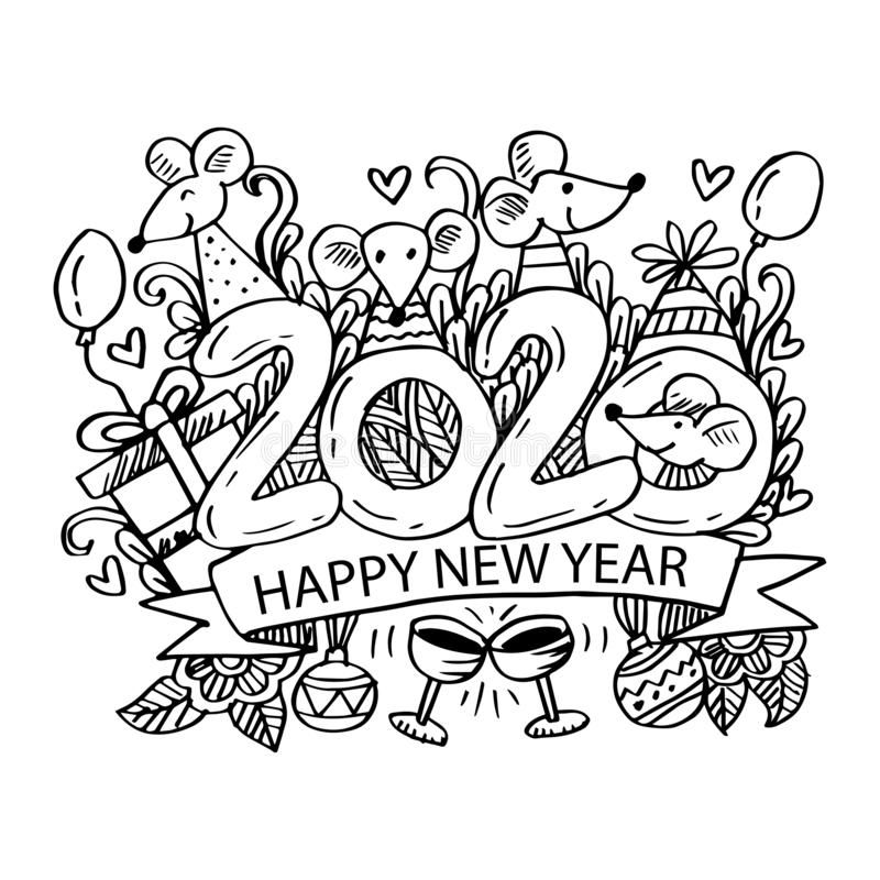 chinese new year coloring pages 2020 doodle of symbol chinese happy new year 2020 black and 2020 pages year new chinese coloring