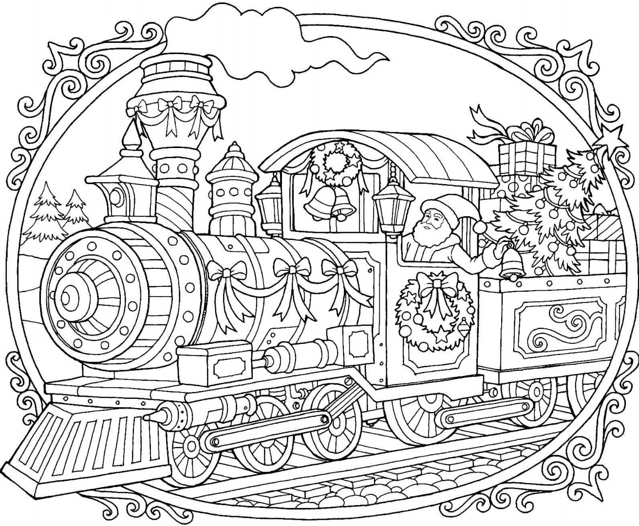 Christmas train coloring pages