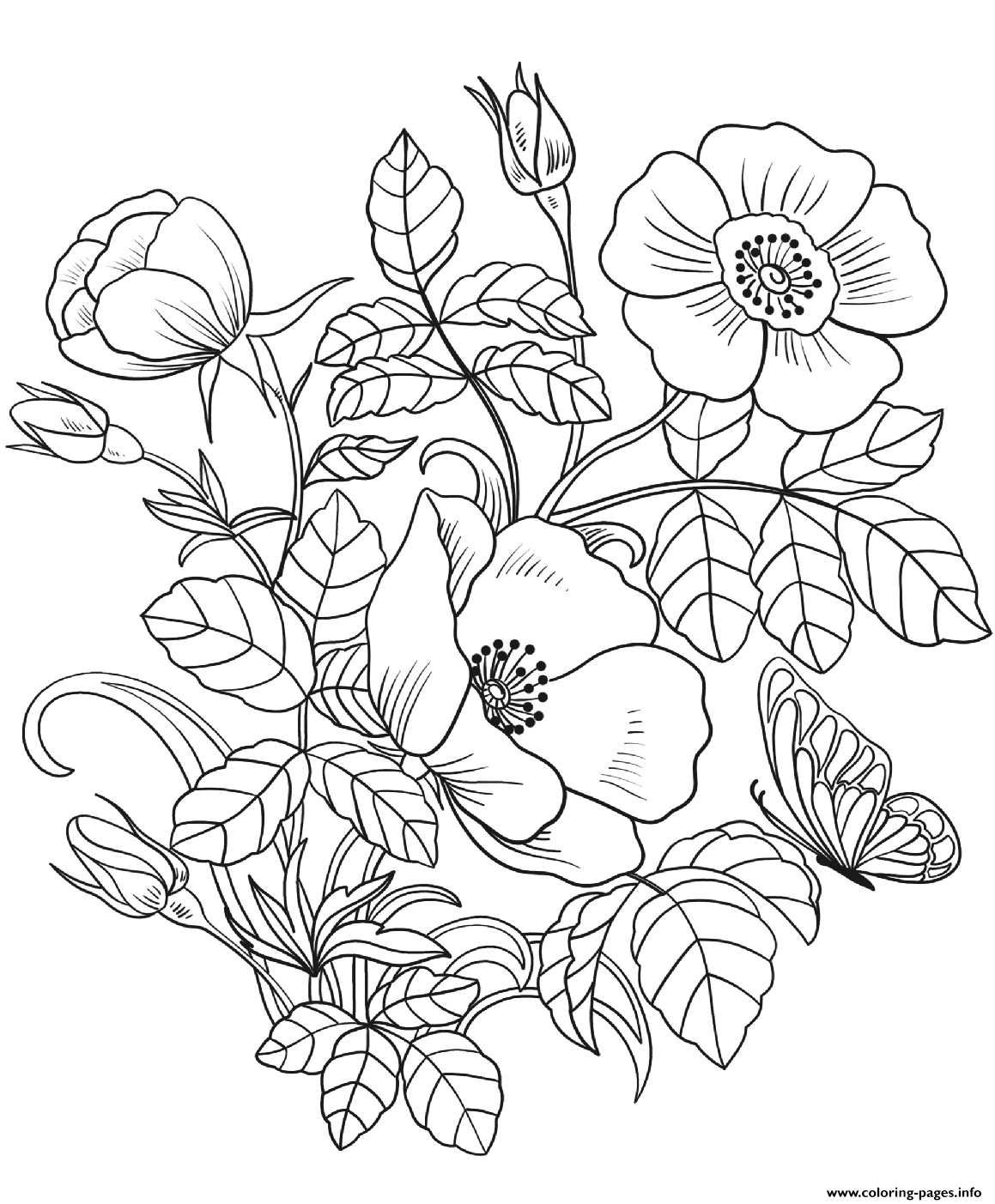 color page flower bouquet of flowers coloring pages for childrens printable flower page color