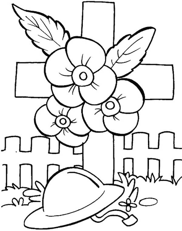 color poppy remembrance day poppies and soldier helmet coloring pages poppy color