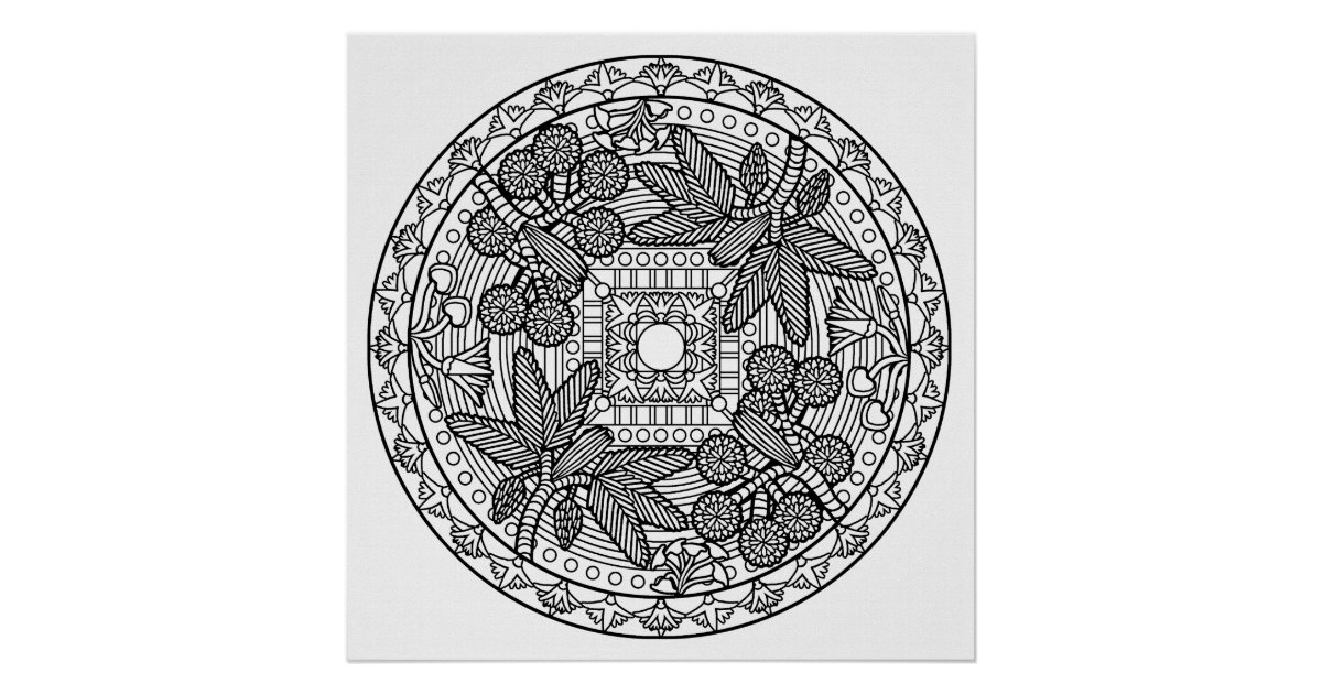 color your own mandala color your own dragon mandala poster zazzlecouk your own color mandala