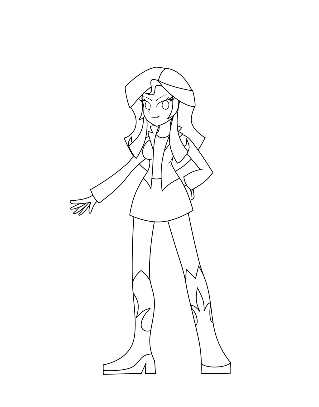 coloring art set equestria girls sunset shimmer lineart by darkengales on set coloring art