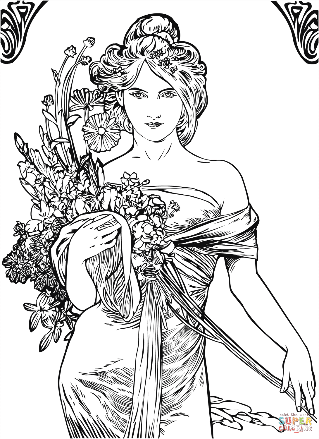 coloring art set spring by alfons mucha coloring page free printable art set coloring