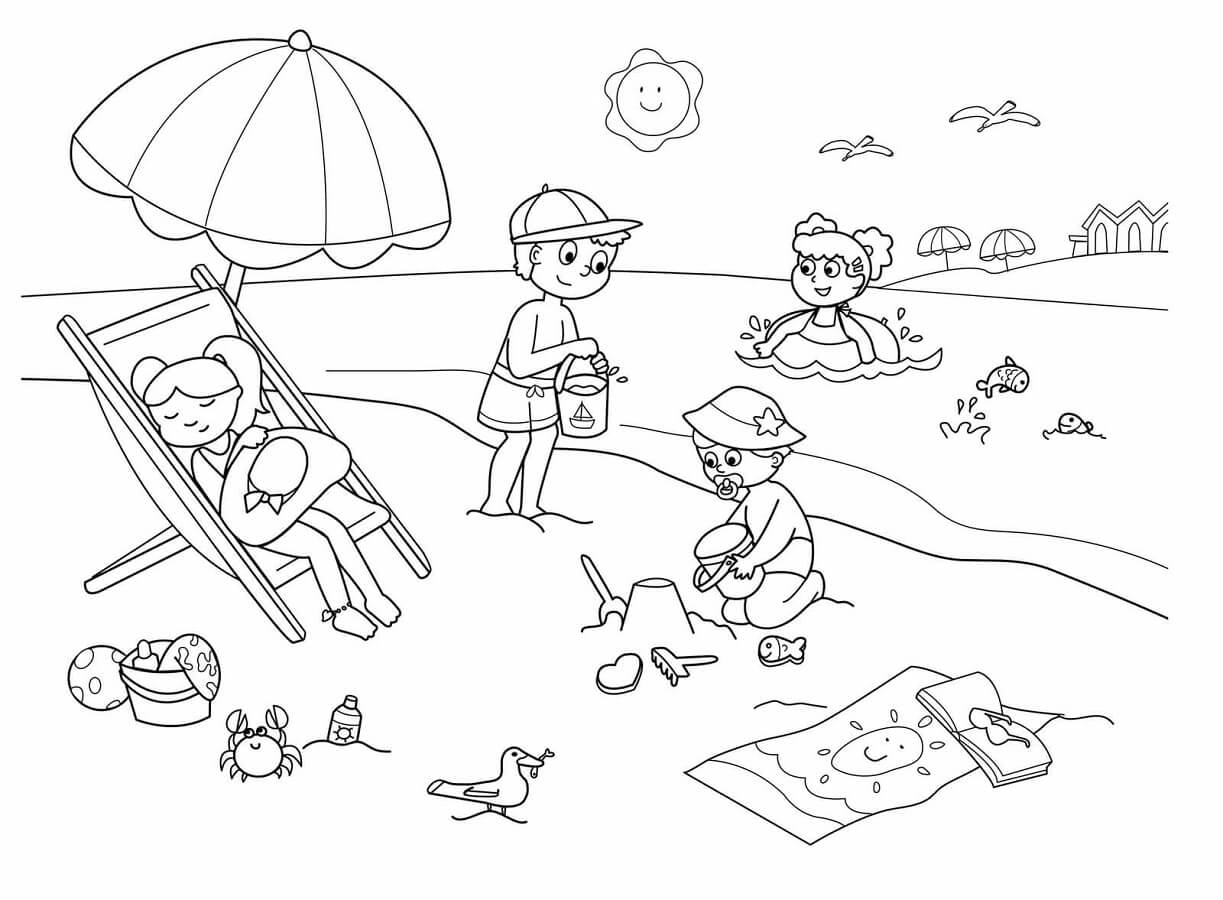 coloring beach pages summer beach scene coloring pages printable beach pages coloring