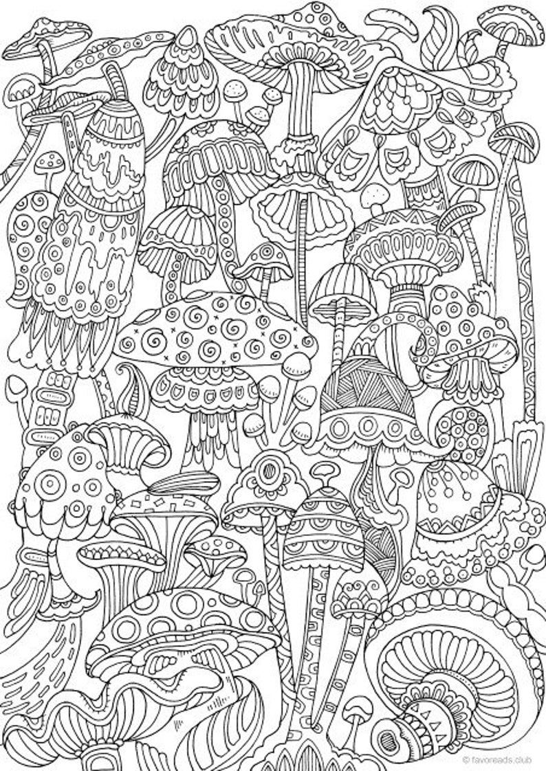coloring book for adults mushrooms printable adult coloring page from favoreads etsy book for adults coloring