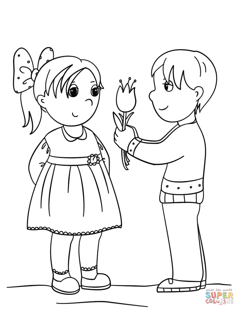 coloring boy girl japanese boy and girl coloring page free printable boy girl coloring