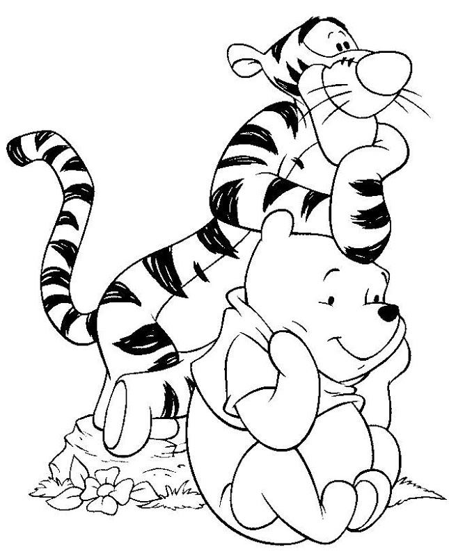 Coloring cartoon characters black and white