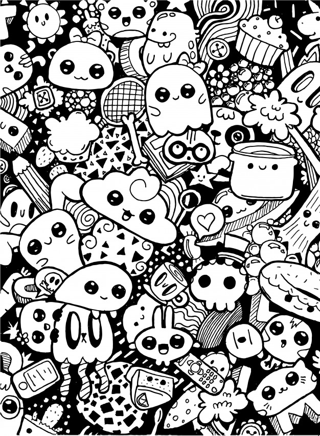 coloring cartoon characters black and white doodling cute kawaii cartoon characters black and white cartoon and white black characters coloring