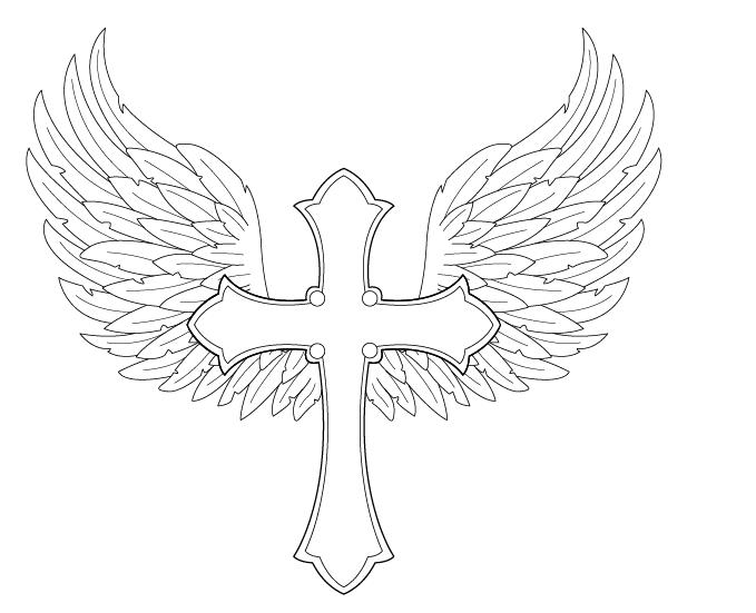 coloring cross with wing angel wings with cross by fighttheassimilation on deviantart wing coloring with cross