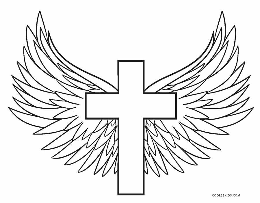 coloring cross with wing cross coloring pages cross coloring page cross drawing coloring wing with cross
