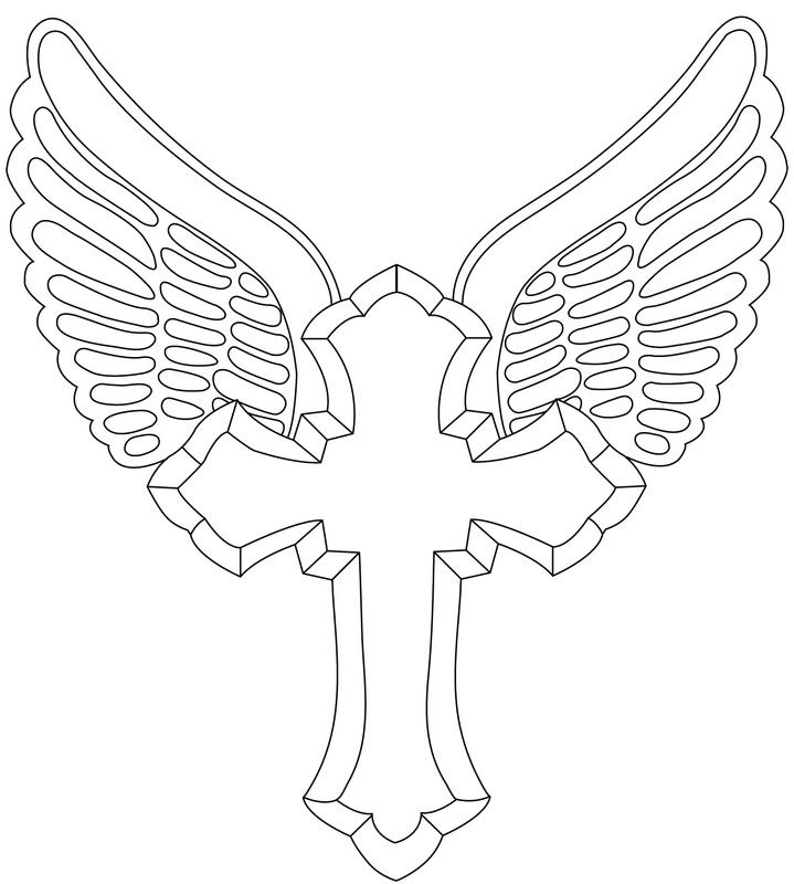 coloring cross with wing cross outline tattoo designs vector tattoo design wing coloring with cross