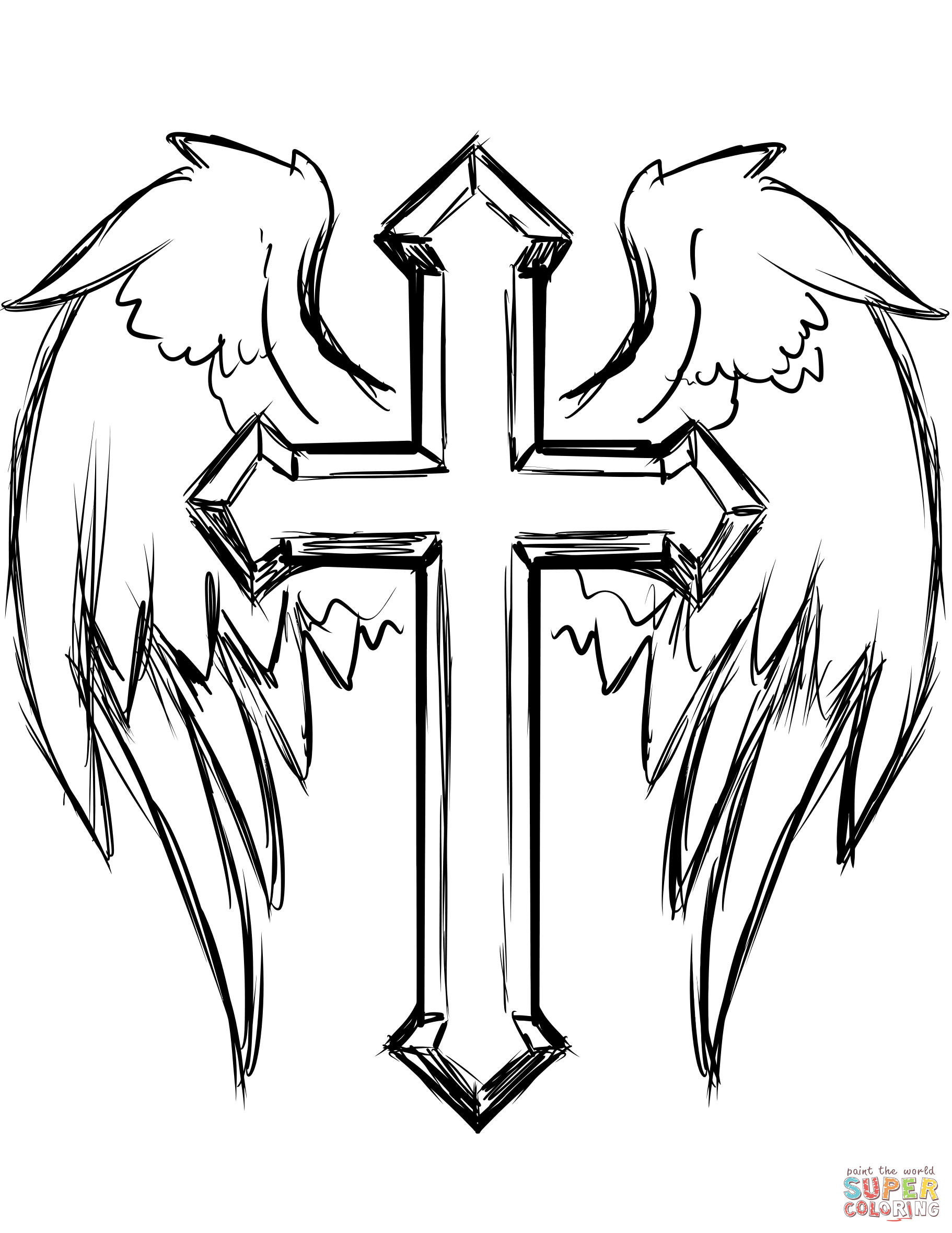 Coloring cross with wing