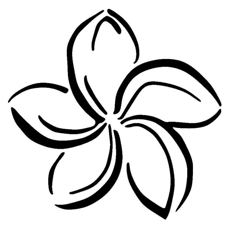 coloring flower clipart black and white library of black anf white plumeria banner transparent png black flower coloring clipart white and