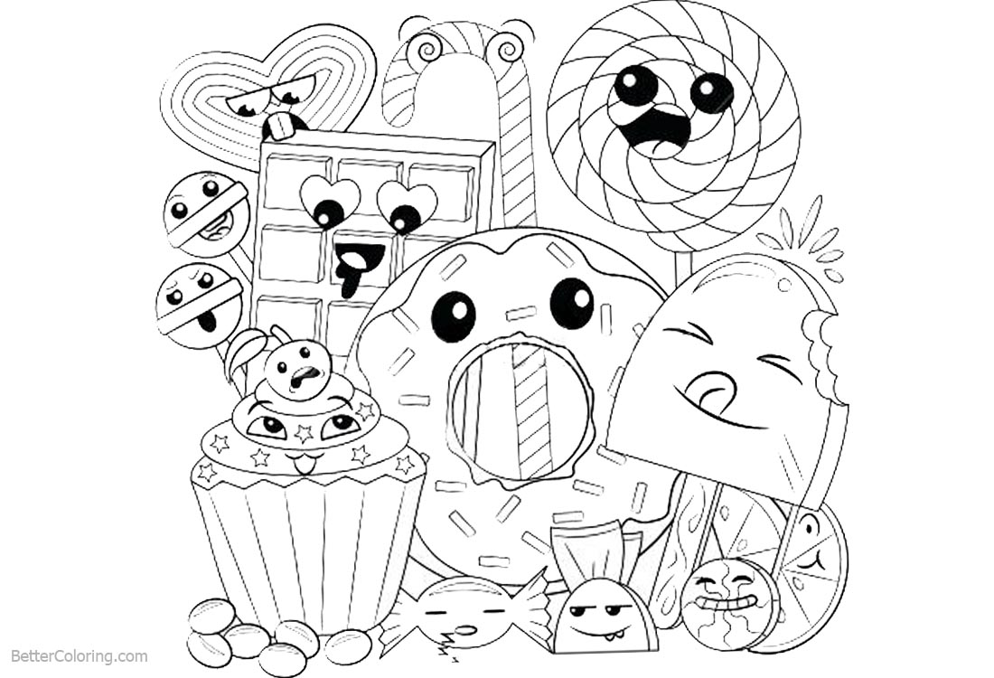coloring food cute foods doodle coloring page printable cutekawaii coloring coloring food cute