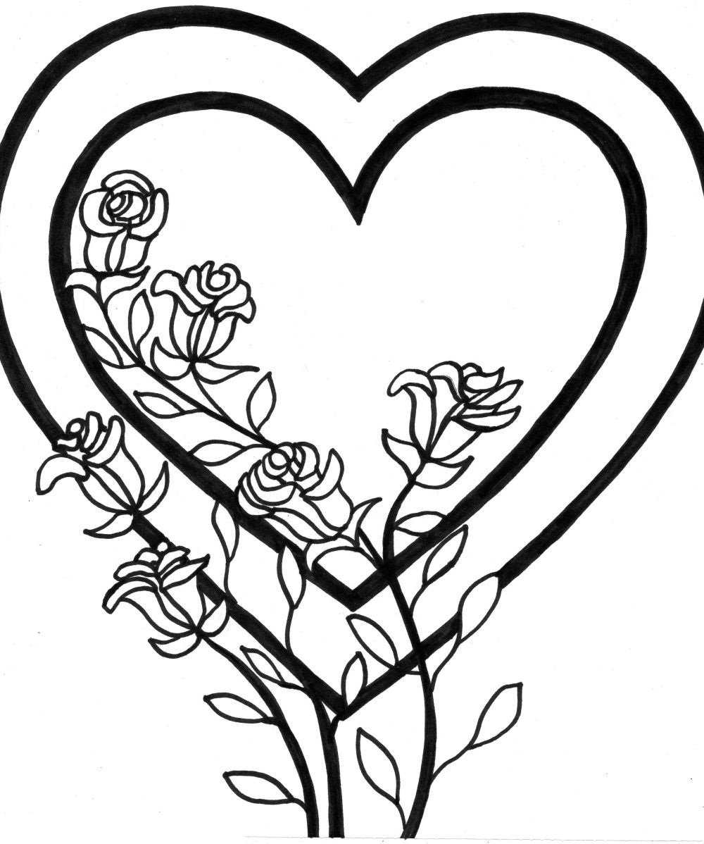 coloring hearts and roses heart coloring pages heart coloring pages rose coloring coloring hearts and roses