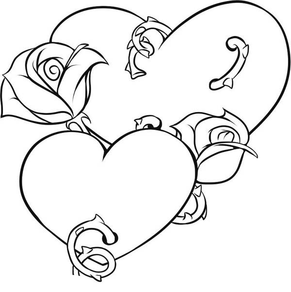 coloring hearts and roses hearts and roses with sharp thorn coloring page hearts hearts and roses coloring