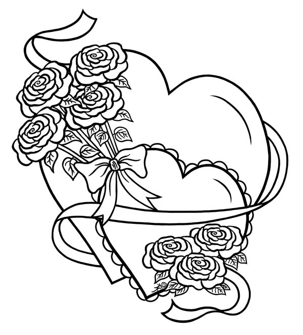 coloring hearts and roses picture of hearts and roses coloring page picture of roses hearts coloring and